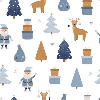 Nahtloses weihnachtsmuster weihnachtsmann rentier geschenkboxen weihnachtsbaum