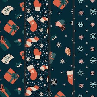 Nahtloses weihnachtsmusterset für geschenkpapier oder tapete