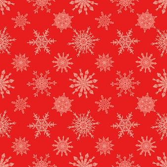 Nahtloses weihnachtsrotes nahtloses muster mit gezogenen schneeflocken