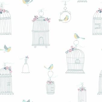 Nahtloses weinlesemuster für dekorative vogelkäfige. mit blumen geschmückt. sitzende und fliegende vögel. illustration im freihandstil in pastellfarben