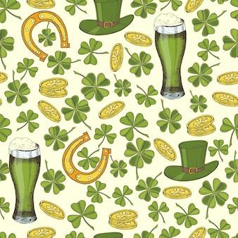 Nahtloses weinlesemuster für st. patrick's day. st. patrick's hut, hufeisen, vierblättriges kleeblatt, grünes bier und goldmünzen.
