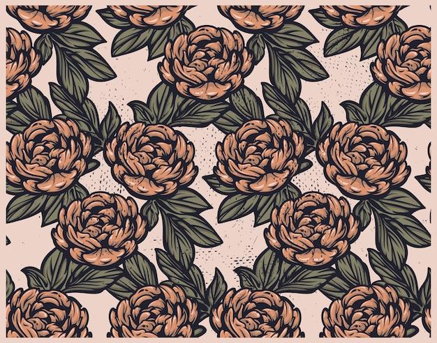 Nahtloses weinlesemuster mit pfingstrosenblumen auf weißem hintergrund. ideal für stoffdruck, dekoration und viele andere anwendungen