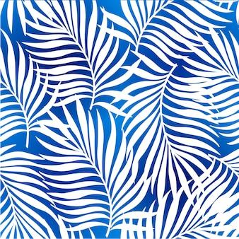 Nahtloses wiederholendes muster mit schattenbildern der palme verlässt im blauen hintergrund.