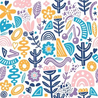 Nahtloses wiederholungsmuster der collagenart mit den abstrakten und organischen formen in der pastellfarbe. modernes und originelles textil, geschenkpapier, wandkunst.
