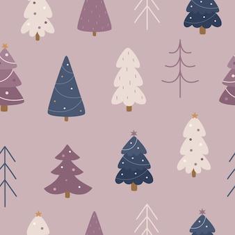 Nahtloses wintermuster nette weihnachtsbäume mit dekorationen
