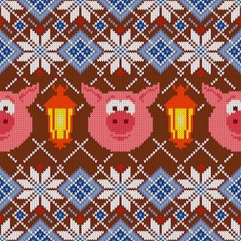 Nahtloses wollstrickmuster mit schweinen und laternen