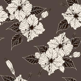 Nahtloses zeichnen der hibiscusblume nahtloses von hand