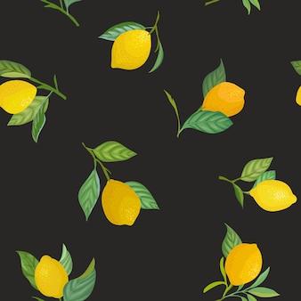 Nahtloses zitronenmuster mit tropischen früchten, blättern, blumenhintergrund. handgezeichnete vektorillustration im aquarellstil für romantische sommerabdeckung, tropische tapete, vintage-textur