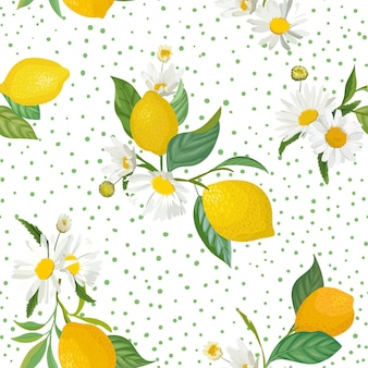 Nahtloses zitronenmuster mit tropischen früchten, blättern, gänseblümchenblumenhintergrund. handgezeichnete vektorillustration im aquarellstil für romantische sommerabdeckung, tropische tapete, vintage-textur