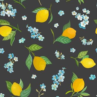 Nahtloses zitronenmuster mit tropischen früchten, blättern, vergessen sie mich nicht, blumenhintergrund. handgezeichnete vektorillustration im aquarellstil für romantische sommerabdeckung, tropische tapete, vintage-textur