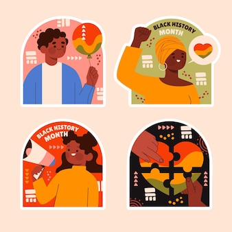 Naive black history month sticker collection