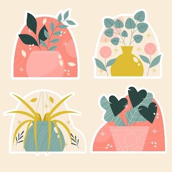 Naive blumen und pflanzen aufkleber gesetzt