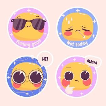 Naive emoticons aufkleber illustrationssatz