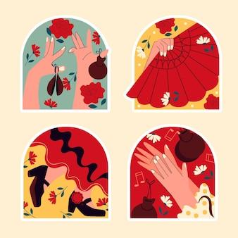 Naive flamenco-tänzer sticker Premium Vektoren