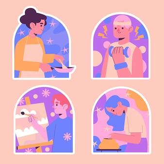 Naive hobby-sticker-sammlung