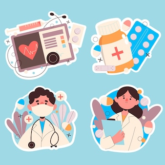 Naive medizinische aufklebersammlung