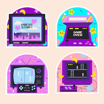 Naive retro-videospielaufkleber