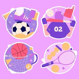 Naive sportaufkleber-sammlung