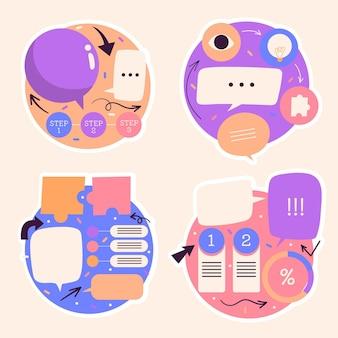 Naive sprechblasen, pfeile, infografik-aufkleber