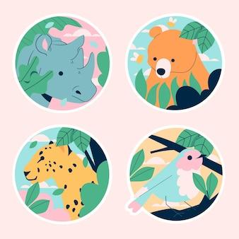 Naive wildlife sticker-sammlung