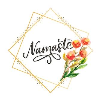 Namaste beschriftet indischen gruß