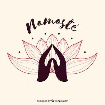 Namaste geste mit blume