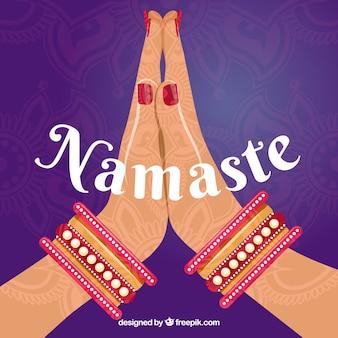 Namaste geste mit ethnischem stil