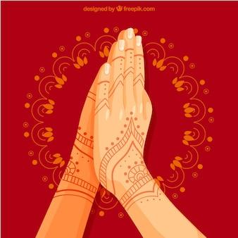 Namaste-geste mit klassischem stil
