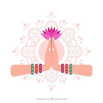 Namaste geste mit mandal und blume