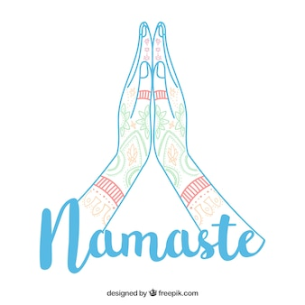 Namaste geste mit modernem stil