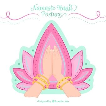 Namaste-geste mit religiösem mandala