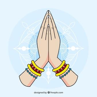Namaste geste mit spaß-stil