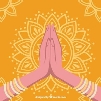 Namaste geste mit ursprünglichem mandala