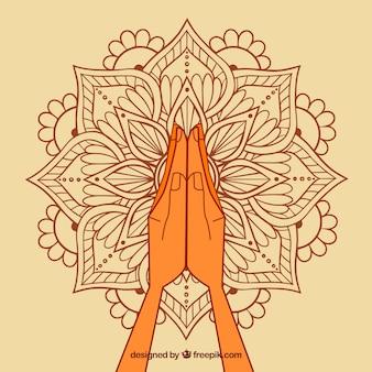 Namaste geste mit ursprünglichem mandala Kostenlosen Vektoren
