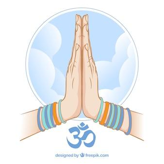 Namaste geste und blauer himmel