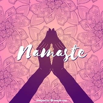 Namaste geste und handgezeichnete mandalas