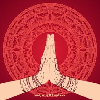 Namaste-handhaltungshintergrund