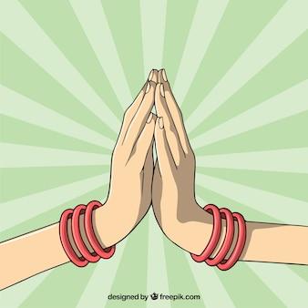 Namaste post mit handgezeichneten stil