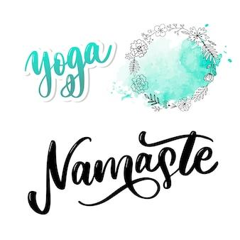 Namaste schriftzug indische begrüßung, hallo in hindi hand beschriftet kalligraphischen design. inspirierende typografie.