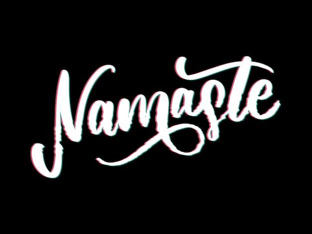 Namaste schriftzug indischen gruß