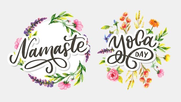 Namaste und yoga day hand schriftzug set