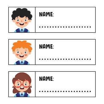 Namensschilder für schulkinder