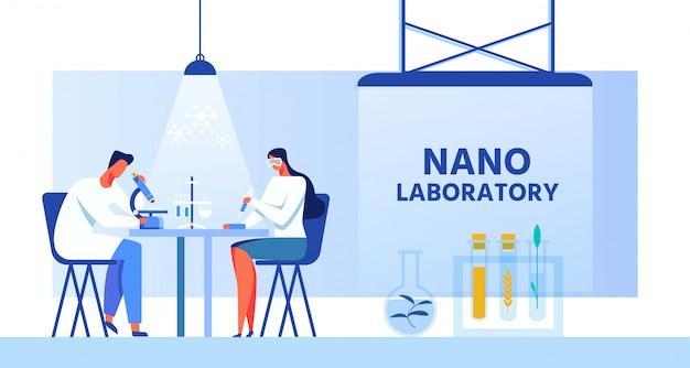 Nano-labor banner mit wissenschaftlern zeichen