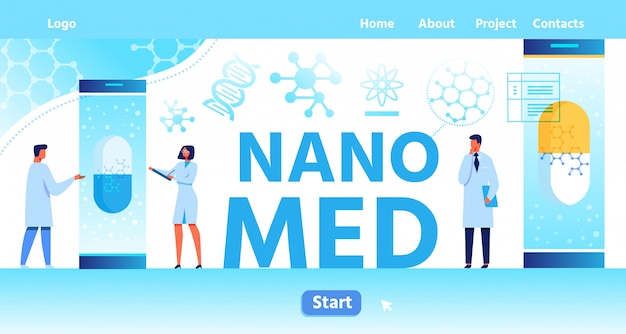 Nano med landing page mit platz für logo