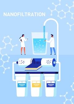 Nanofiltrationsprozess präsentation cartoon poster