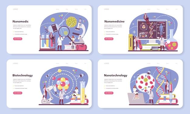 Nanomedic web banner oder landing page set. wissenschaftler arbeiten im labor für nanotechnologie.