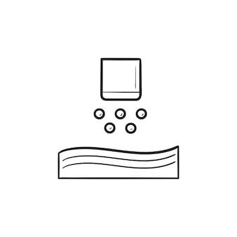 Nanopartikel-jetting 3d-drucker handgezeichnete umriss doodle-symbol. 3d-modellierung und nanopartikel-druckkonzept