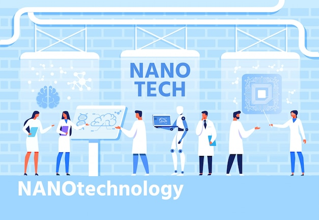 Nanotechnologie-entwicklungs-flache karikatur-fahne