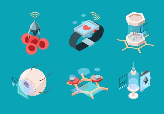 Nanotechnologie isometrisch. bio moderne medizinische systeme nanoroboter menschliche implantatorgane forschungsmaschinen Premium Vektoren