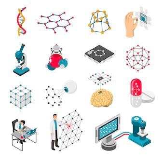 Nanotechnologie-isometrische ikonen eingestellt